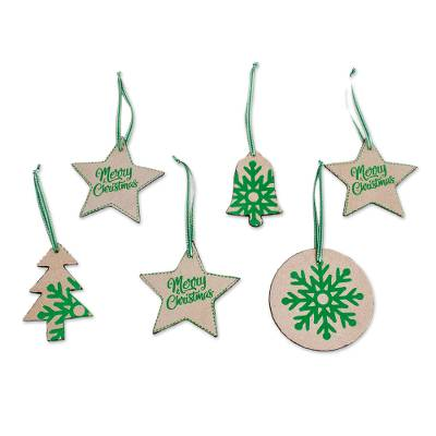 Beige and Green Leather Christmas Ornaments (Set of 6)