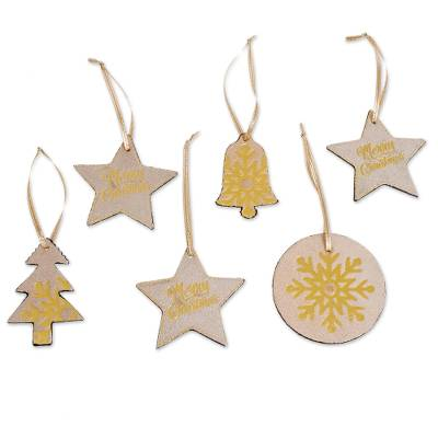 Beige and Gold Leather Christmas Ornaments (Set of 6)
