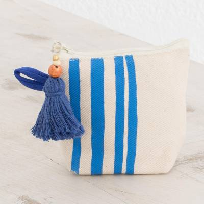 Cotton coin purse, 'Royal Blue Lines' - Hand-Painted Striped Cotton Coin Purse from El Salvador