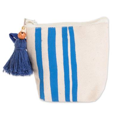 Hand-Painted Striped Cotton Coin Purse from El Salvador