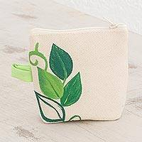 Cotton coin purse, 'Plant Harmony' - Hand-Painted Leaf Motif Cotton Coin Purse from El Salvador