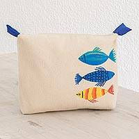 Cotton clutch, 'Under the Sea' - Hand-Painted Fish Cotton Clutch from El Salvador