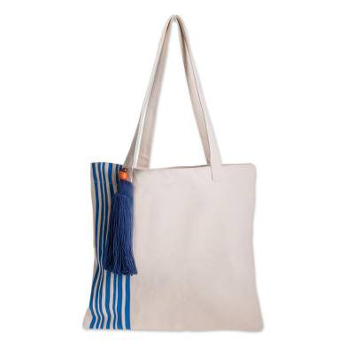 Hand-Painted Striped Cotton Tote from El Salvador