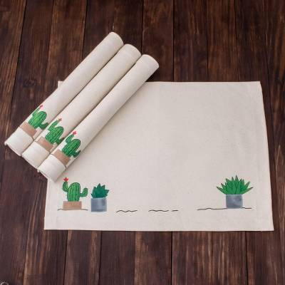 Handpainted cotton placemats, 'Desert Plants' (set of 4) - Plant-Themed Cotton Placemats from El Salvador (Set of 4)