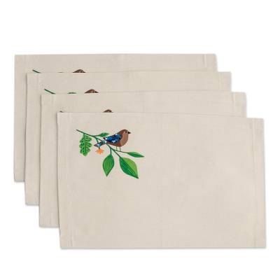 Bird-Themed Cotton Placemats from El Salvador (Set of 4)