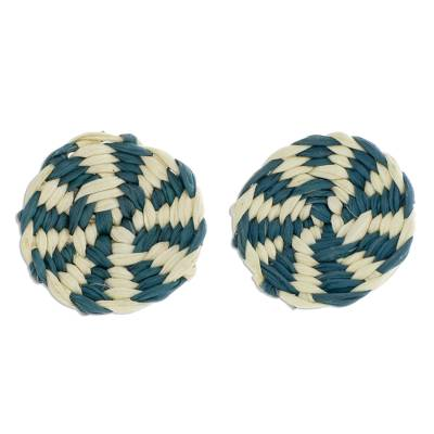 Turquoise and Ivory Woven Junco Reed Circle Button Earrings