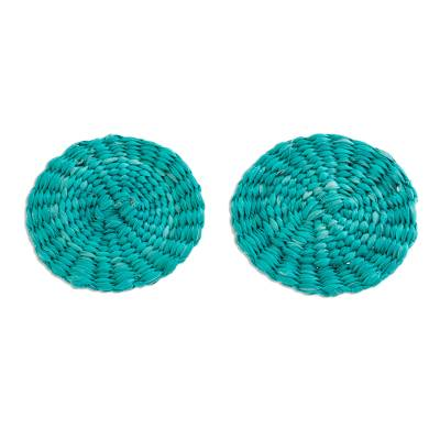 Turquoise Handwoven Junco Reed Circular Button Earrings