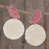 Natural fiber dangle earrings, 'Gifts of the Earth in Chili' - Natural Fiber Dangle Earrings in Chili and Alabaster