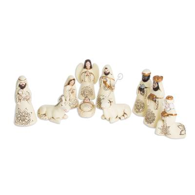 Handmade Ceramic Nativity Scene from El Salvador (10 Pieces)