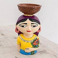 Ceramic tealight holder, 'Volcaneña Woman' - Ceramic Tealight Holder of a Traditional Woman