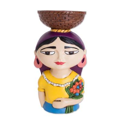Ceramic Tealight Holder of a Traditional Woman