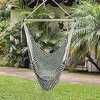 Cotton hammock swing, 'Forests' (single) - Forest Green and Eggshell Cotton Hammock Swing (Single)