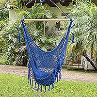 Cotton hammock swing, 'Simple Relaxation in Lapis' (single) - Handwoven Cotton Hammock Swing in Lapis (Single)