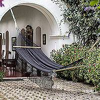 Cotton rope hammock, 'Simple Relaxation in Black' (single) - Cotton Hammock in Black from Nicaragua (Single)