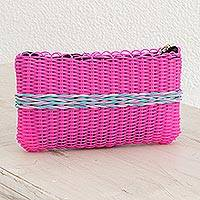 Recycled plastic clutch, 'Harmony of Color in Fuchsia' - Recycled Plastic Clutch in Fuchsia from Guatemala