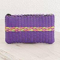 Recycled plastic clutch, 'Harmony of Color in Purple' - Recycled Plastic Clutch in Blue-Violet from Guatemala