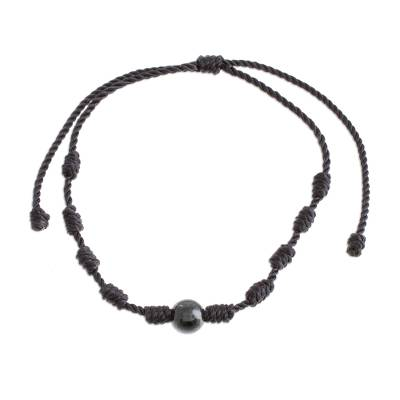 Jade pendant bracelet, 'Bold Texture in Black' - Black Jade and Nylon Knotted Cord Adjustable Bracelet