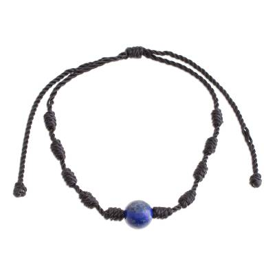 Lapis lazuli pendant bracelet, 'Bold Texture in Blue' - Lapis Lazuli and Nylon Knotted Cord Adjustable Bracelet