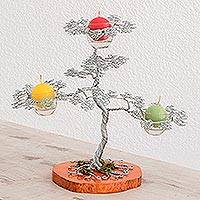 Steel candle holder, 'Apple Tree' - Handmade Steel Apple Tree Candle Holder from Guatemala
