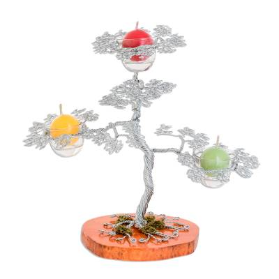 Handmade Steel Apple Tree Candle Holder from Guatemala