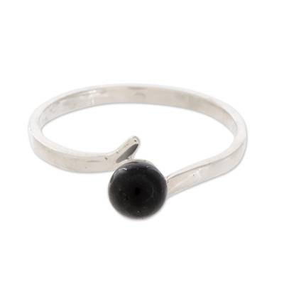 Round Jade Single-Stone Ring in Black from Guatemala