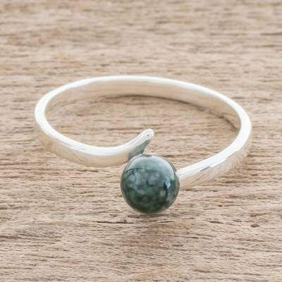 Jade single-stone ring, 'Abstract Orb in Dark Green' - Round Jade Single-Stone Ring in Dark Green from Guatemala