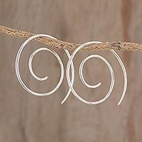Sterling silver half-hoop earrings, 'Fibonacci's Beauty' - Spiral Sterling Silver Half-Hoop Earrings from Guatemala