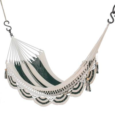 Cotton rope hammock, 'Mountain Harvest' (single) - Cotton Hammock in Forest Green and Eggshell (Single)