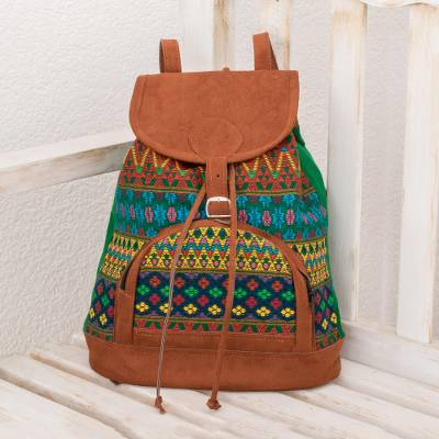 Cotton backpack, 'Colorful Forest' - Geometric Cotton Backpack from Guatemala