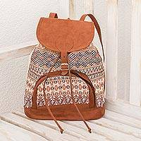 Cotton backpack, 'Autumnal Geometry' - Autumnal Cotton Backpack from Guatemala