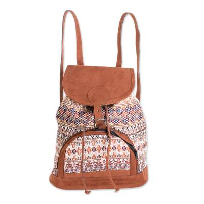 Autumnal Cotton Backpack from Guatemala