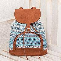 Cotton backpack, 'Sky of Guatemala' - Blue and White Cotton Backpack from Guatemala