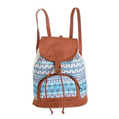 Blue and White Cotton Backpack from Guatemala