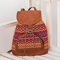 Cotton backpack, 'Summer Afternoon' - Faux Suede-Accented Cotton Backpack from Guatemala