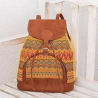 Cotton backpack, 'Light of the Sun' - Bright Cotton Backpack Crafted in Guatemala