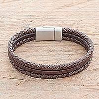 Men's leather cord bracelet, 'Masculine Strands in Espresso' - Men's Leather Cord Bracelet in Espresso from Costa Rica