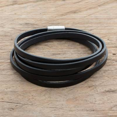 Men's leather wrap bracelet, 'Masculine Symphony in Black' - Men's Black Leather Wrap Bracelet from Costa Rica