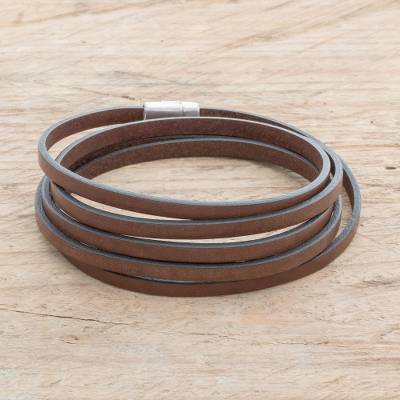 Men's leather wrap bracelet, 'Masculine Symphony in Espresso' - Men's Espresso Leather Wrap Bracelet from Costa Rica
