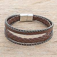 Men's leather strand bracelet, 'Bold Variety in Espresso' - Men's Espresso Leather Strand Bracelet from Costa Rica