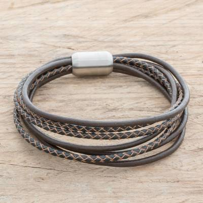 Men's leather cord bracelet, 'Bold Expression in Espresso' - Men's Leather Strand Bracelet in Espresso from Costa Rica
