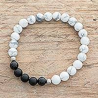 Men's howlite and agate beaded stretch bracelet, 'Grey Cosmos' - Men's Howlite and Agate Beaded Stretch Bracelet