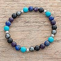 Men's multi-gemstone beaded stretch bracelet, 'Morpheus Colors' - Men's Multi-Gemstone Stretch Bracelet in Blue and Purple