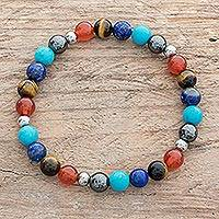 Men's multi-gemstone beaded stretch bracelet, 'Colorful Planets' - Colorful Men's Multi-Gemstone Beaded Stretch Bracelet