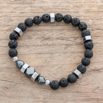 Men's hematite and lava stone beaded stretch bracelet, 'Volcano Might' - Men's Hematite and Lava Stone Beaded Stretch Bracelet