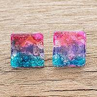 Recycled glass button earrings, 'Infinite Universe' - Square Recycled Glass Button Earrings Crafted in Costa Rica