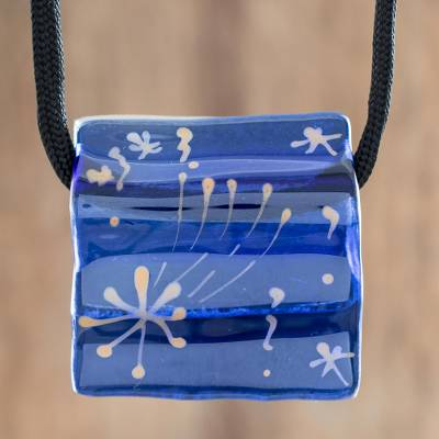 Recycled glass pendant necklace, 'Starry Dreams in Blue' - Blue Recycled Glass Pendant Necklace from Costa Rica