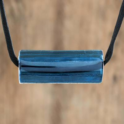 Recycled glass pendant necklace, 'Crystalline Deep Blue' - Dark Blue Recycled Glass Pendant Necklace from Costa Rica