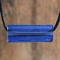 Recycled glass pendant necklace, 'Crystalline Blue' - Blue Recycled Glass Pendant Necklace from Costa Rica