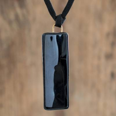 Recycled glass pendant necklace, 'Mood of Strength' - Black Recycled Glass Pendant Necklace from Costa Rica