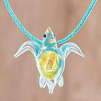 Art glass pendant necklace, 'In the Ocean' - Art Glass Sea Turtle Pendant Necklace from Costa Rica
